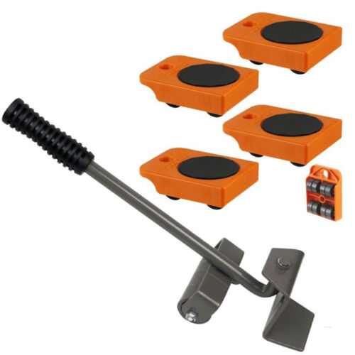 """4pc Mover Rollers with Handle, Furniture & Appliances Roll with Ease 4"""" x 3"""""""