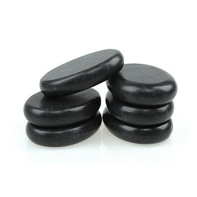 6 Pcs Hot Massage Stone Set Heater Natural Basalt Warmer Rock Kit 3.14 x 2.36 in