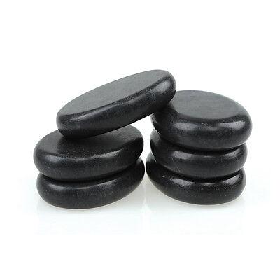 6 Pcs Hot Massage Stone Set Heater Natural Basalt Warmer Rock Kit 3.14 x 2.36 in (Hot Stone Massage Set)