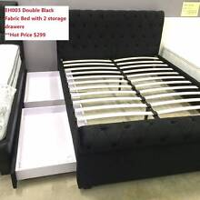 Double Black BrandNew Luxury 2 Drawers Fabric EuroStyle Bed Frame Clayton South Kingston Area Preview