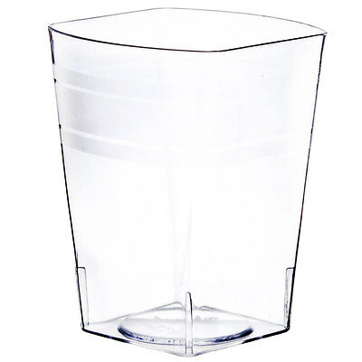 Bulk Glass Cups (4 oz Square Hard Plastic Clear Tumblers Disposable Wine Cups Bar Glasses)