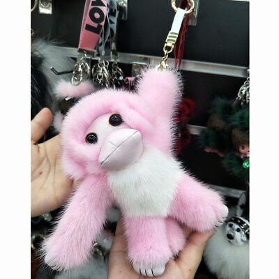 Real Mink Fur Keychain Pink Monkey Pom Pom Doll Keyring Bag Charm Car Pendant - Pom Pom Monkey