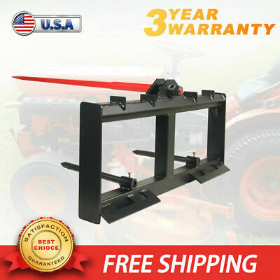Hay Bale Spear Skid Steer Tractor Loader Quick Tach Attachment Moving Hay Bale