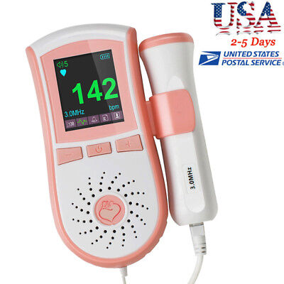 Fetal Doppler 3m Probe Ultrasound Prenatal Baby Heart Rate Monitor Usa Ship