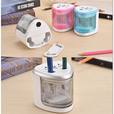 2 Holes Automatic Electric Pencil Sharpener Battery Operated With Nonslip Mat