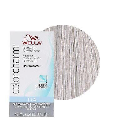 Ash Colour (Wella Color Charm Permament Liquid Hair Dye Toner 42mL Pale Ash Blonde T14 )