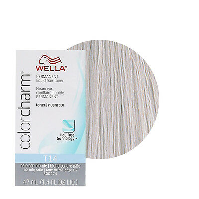 Wella Color Charm Permament Liquid Hair Dye Toner 42mL Pale Ash Blonde T14