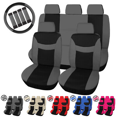 Universal Cloth Auto Car Seat Cover Set Protector Steering Wheel Cover Belt Pad Car Seat Belt Cover Pad