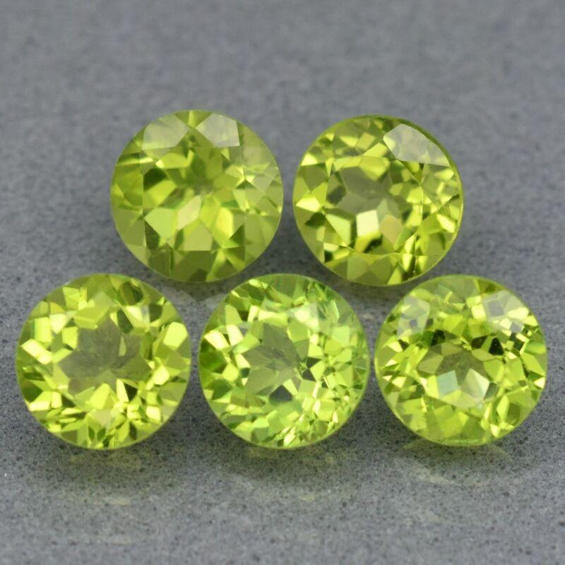6mm 5pcs Lot Round Natural Untreated Green Peridot, Pakistan