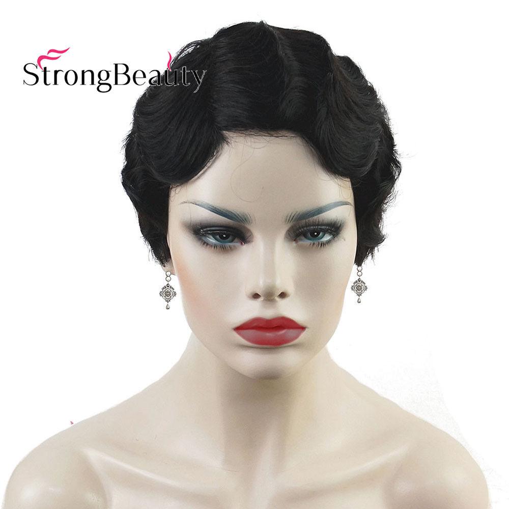 Surprising Retro Wig Short Finger Waves Hairstyles 100 Human Hair Black Schematic Wiring Diagrams Amerangerunnerswayorg