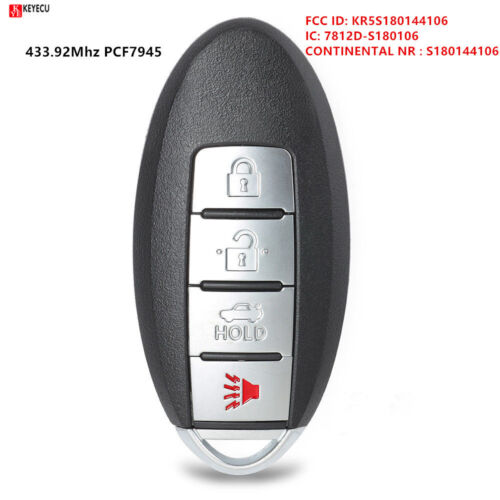 3+1 Button 433.92MHz Smart Remote Key Fob for Nissan Rouge 2014-2016 S180144106