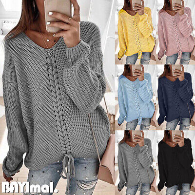Womens Knit Lace Up Long Sleeve Sweater Ladies Casual Loose Jumper Pullover Tops