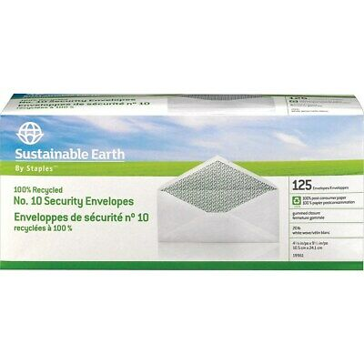 Staples Sustainable Earth #10 100% Recycled Business Envelopes 125/BX (74101) (10 Recycled Business Envelopes)