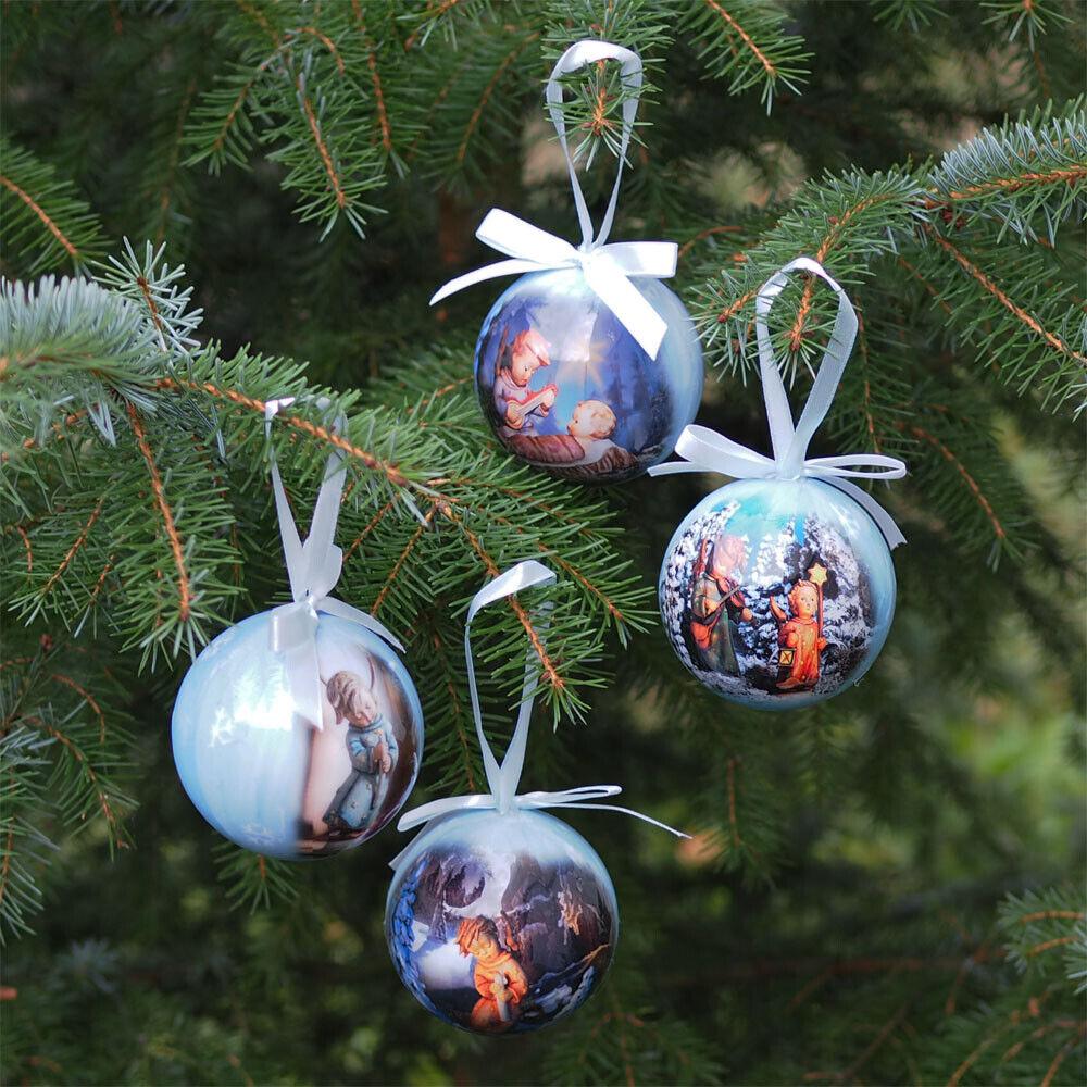 4 Stück Weihnachtskugeln Christbaumkugeln Baumkugeln Baumschmuck Hummel Motiv
