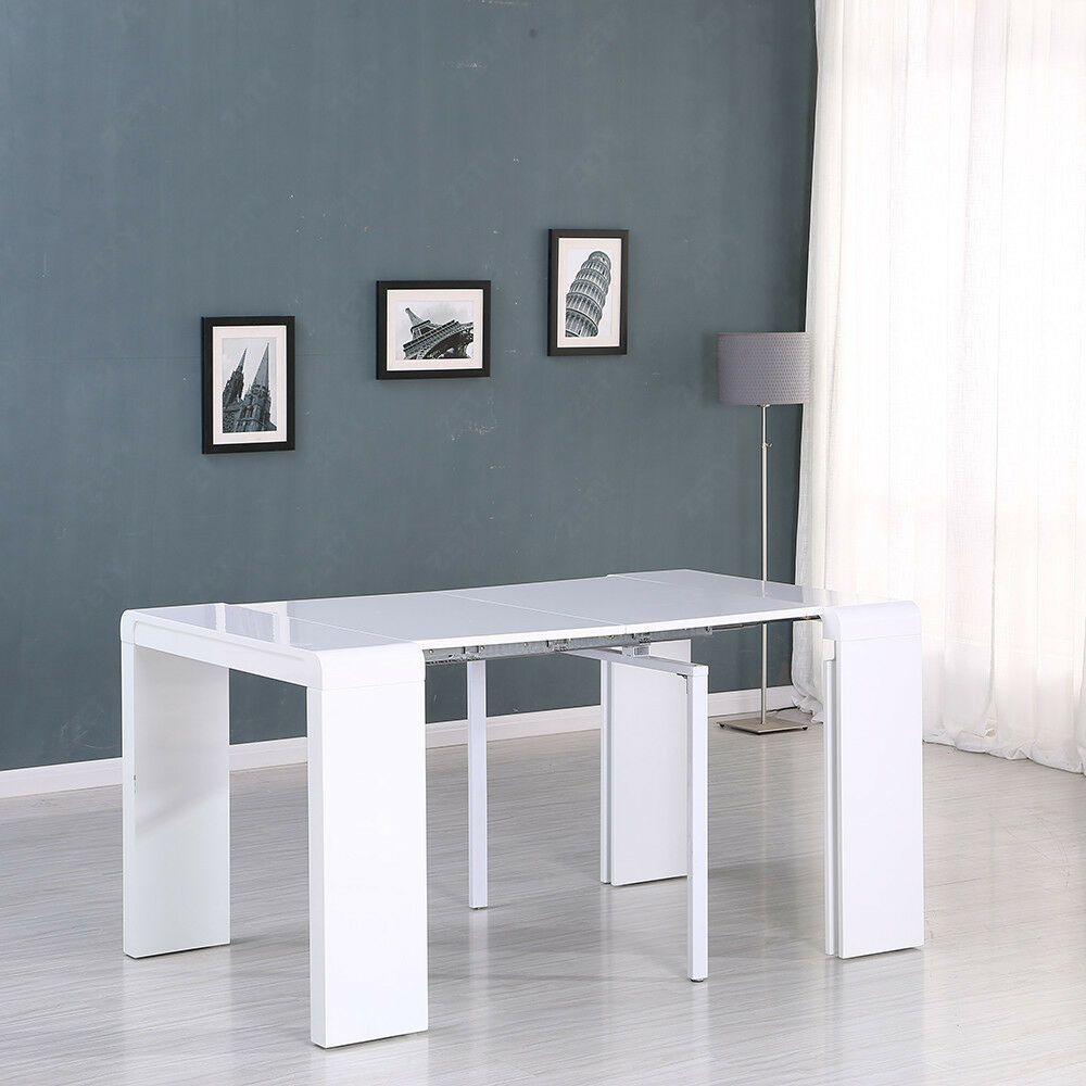 High gloss white extending dining table console party long table modern design high gloss white extending dining table console table 45 250cm geotapseo Choice Image