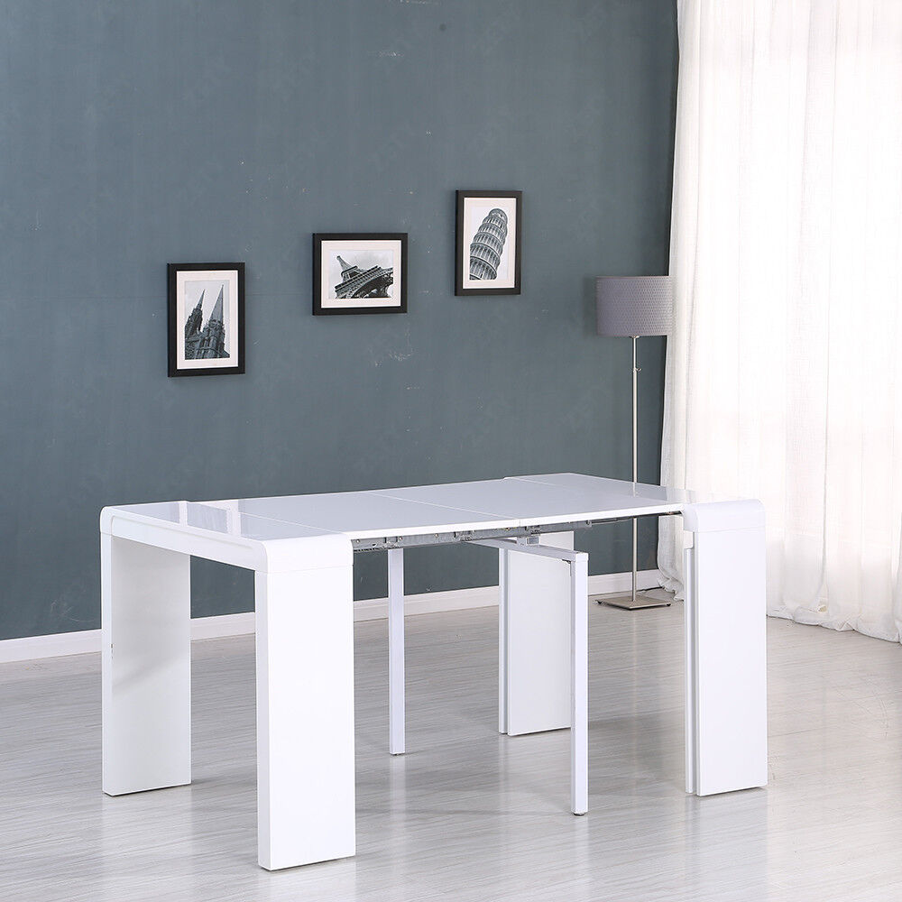 Captivating High Gloss White Extending Dining Table Hidden 4 Boards Console Party Unit