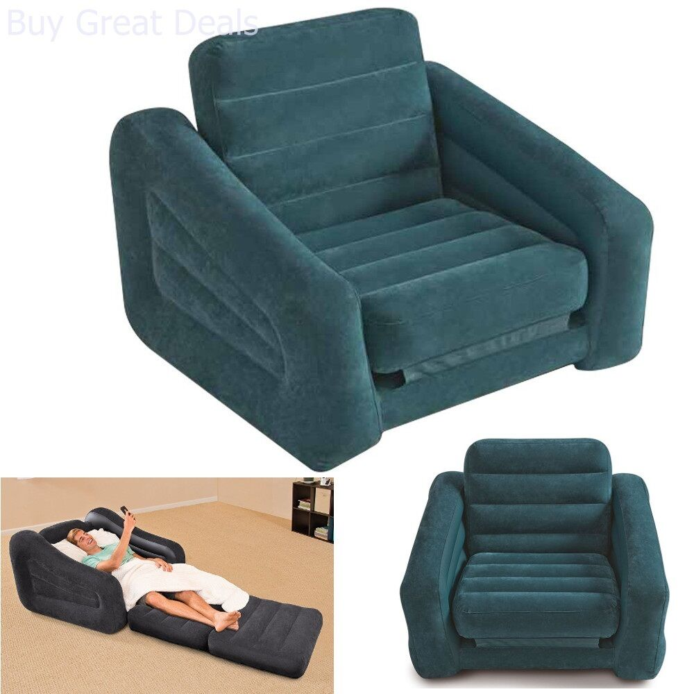 Charmant Details About Inflatable Pull Out Chair Seat Bed Couch Folding Lounge Air  Mattress Sofa Dome