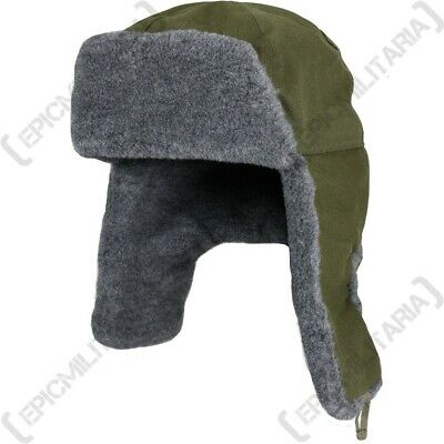 Czech / Russian Ushanka Hat Olive Green - Winter Ski Fur Soviet Surplus Military