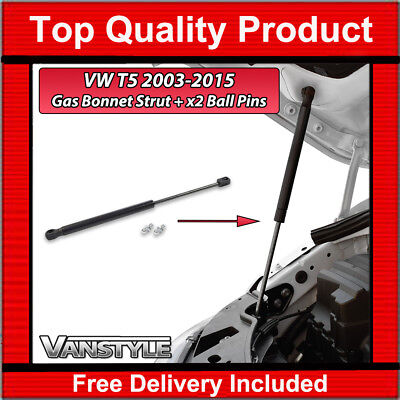 VW T5 TRANSPORTER CARAVELLE 03 15 T51 GP BONNET LIFTER GAS STRUT  x2 BALL PINS