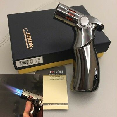 Jobon Four Torch Jet Adjustable Flame Refillable Cigarette Cigar Lighter Black