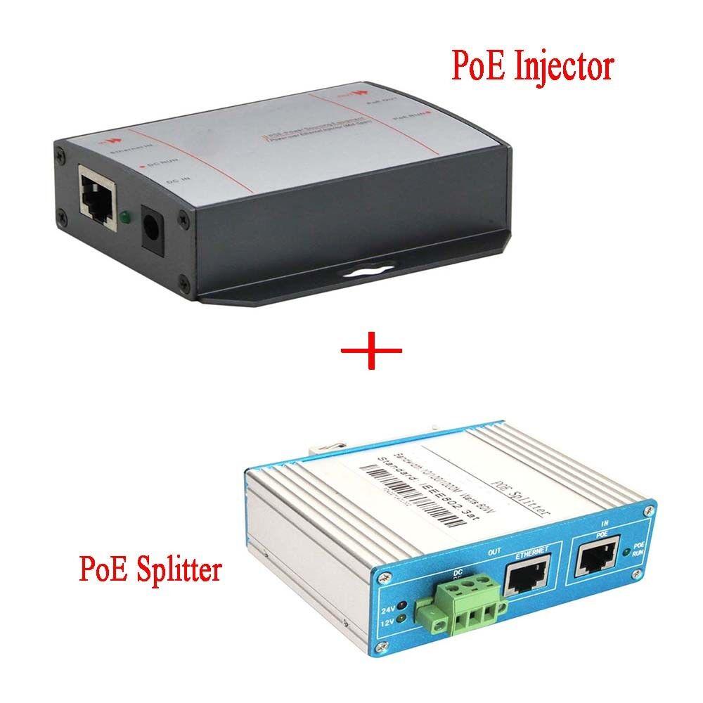 10/100M 60W Single Port PoE Injector Kit PoE Splitter RJ45 Ethernet