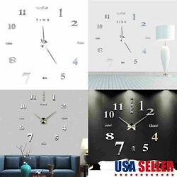 Large Wall Clock Modern 3D Acrylic Mirror Sticker Big Number Watch DIY Decor USA