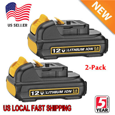 2xFor DEWALT 12 VOLT MAX LITHIUM ION DCB120 DCB127 DCB121 12V BATTERY PACK 2.0Ah (Dewalt 12 Volt Lithium Battery)
