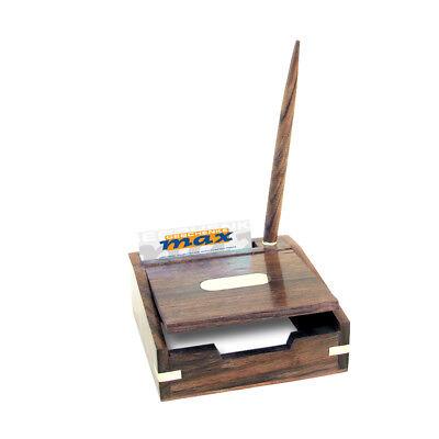 Notizzettel Box - Stifthalter - Visitenkartenfach - Messing Teak - sc-9274