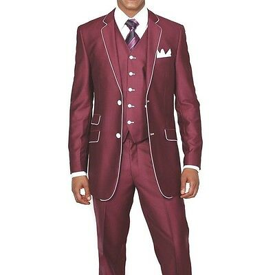2 Button Single Breasted Slim Fit Luxurious Suit with Vest by Milano Moda 5702V1