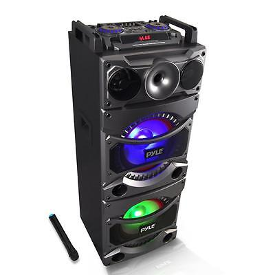 New Pyle Psufm1038bt Bluetooth Mp3 Usb Sd Fm Pa Speaker Karaoke System W  Mic