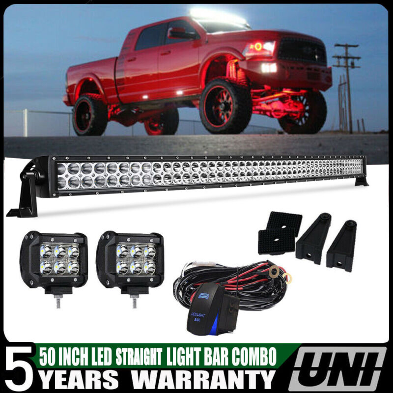 """25/"""" inch LED Light Bar Offroad Roof+Wiring For Polaris RZR 570 800 900 XP1000"""