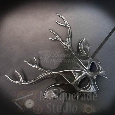 Deer Haunted  Animal Spirit Wall Decoration Halloween Masquerade Mask [Silver]](Spirit Halloween Masquerade Mask)