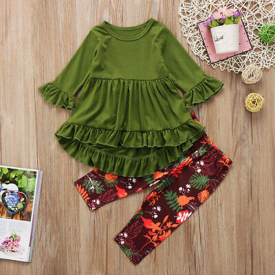 Boutique Toddler Kids Girls Dress Tops Floral Pants Leggings Outfits Clothes Set
