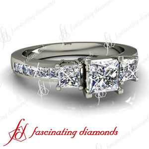 14K Gold Channel Set  .75 Ct Princess Cut Diamond Engagement Ring VS2 14K Gold