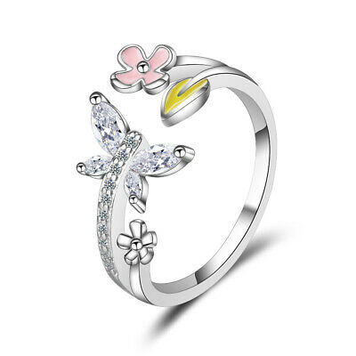NEW 925 Sterling Silver Vintage Austrian Crystal Butterfly Flower Ring For Women Austrian Crystal Butterfly Ring