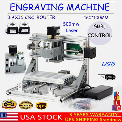 Usb 3 Axis Cnc Router Machine500mw Laser Engraving Milling Wood Plastic Pcb Pvc