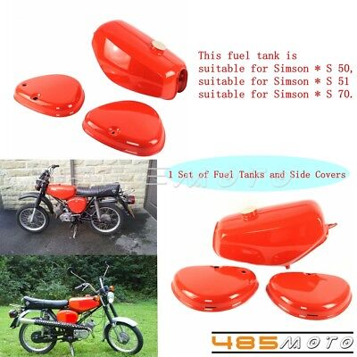Motorcycle 1 Set Steel Fuel Gas Tank & Side Cover Box Lid For Simson S50 S51 S70