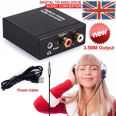 Digital Coaxial Toslink Optical to Analog L/R RCA Audio Converter Adapter 3.5mm