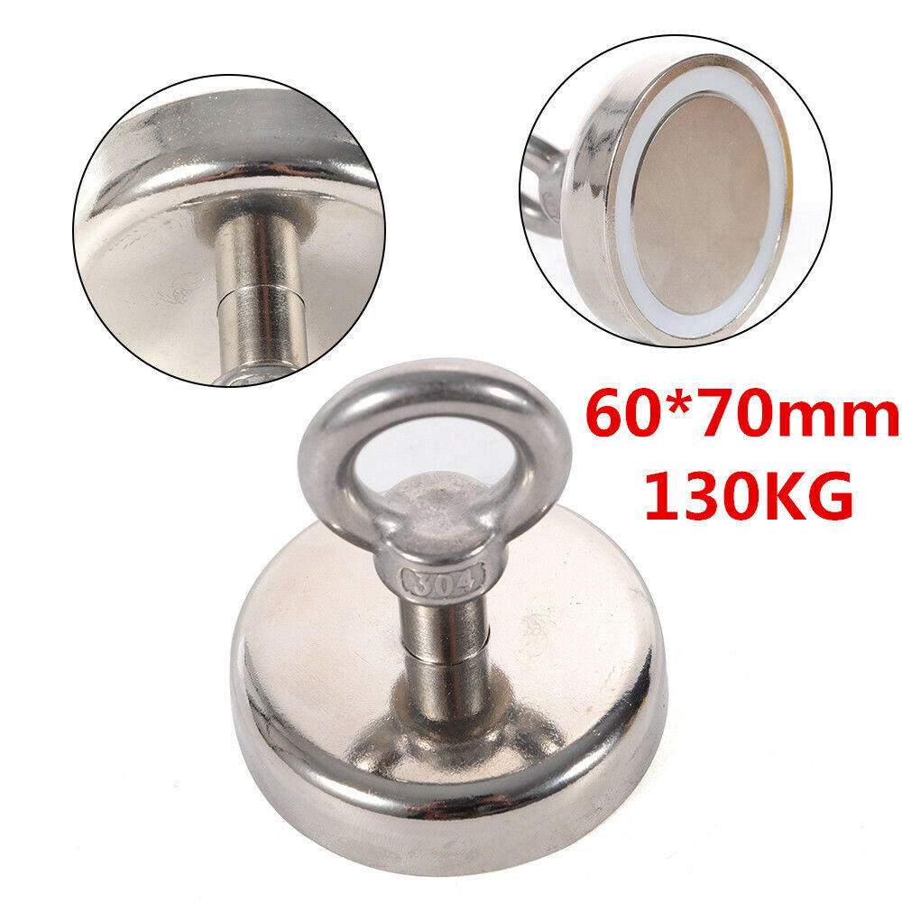 Metal Detector Treasure Hunting Neodymium Recovery Super Magnet 60x70mm 130Kg