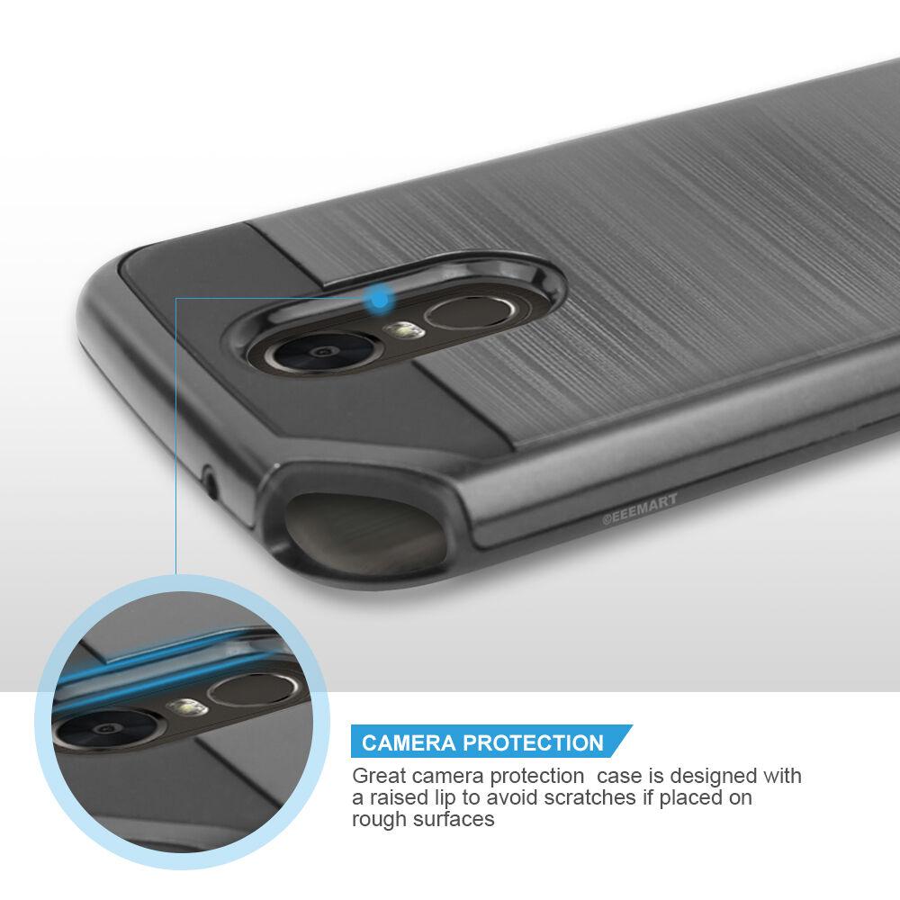 Купить EEEMART - For LG Stylo 3 Plus/Stylo 3 Slim Brushed Hybrid Armor Shockproof Rubber Case