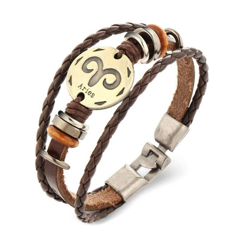 Handmade  Unisex 12 Constellation Zodiac Round Pendant Leather Bangle  Chain