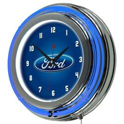 3 in. x 14 in. Oval Chrome Double Rung FORD Neon Wall Clock