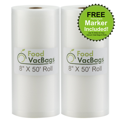 """SALE! Two 8""""X50' Rolls of FoodVacBags 4 mil Commercial Grade"""