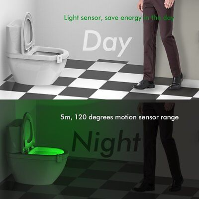 LED Toilet Night Light 8 Color Motion Activated Sensor Bathroom Illumibowl Seat