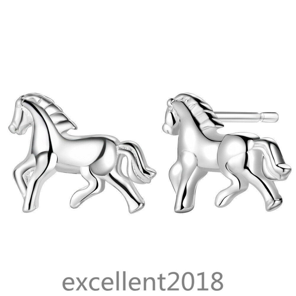 Women White Gold Plated Silver Horse Stud Earrings Cute Anim