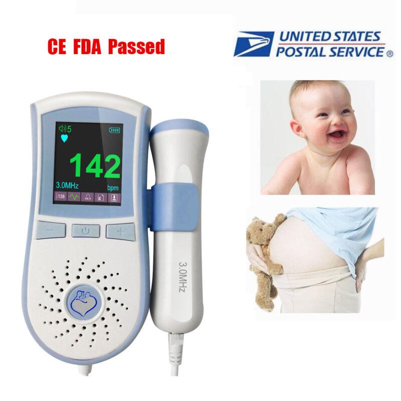Pocke FHR Monitor LCD Fetal Doppler Baby Sound + 3MHz Probe + GEL FDA US Seller