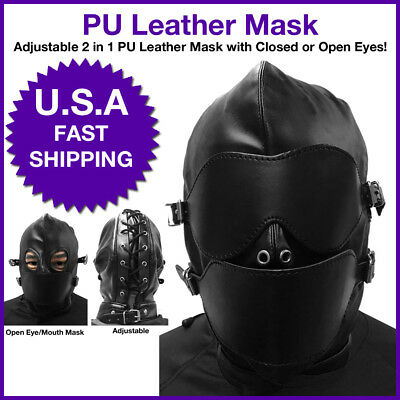 Leather Mask Hood 2 in 1 with Eyes Open or Closed Custome Halloween  (Halloween 2 Opening)