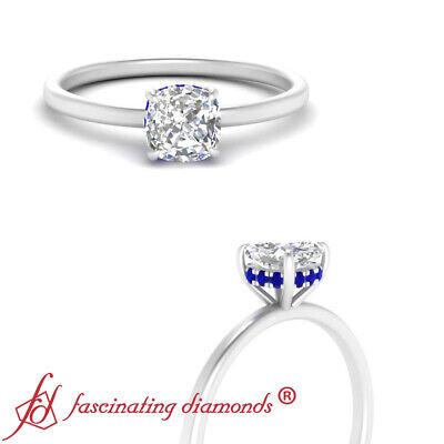 3/4 Carat Cushion Cut Diamond And Sapphire Gemstone Petite Shank Engagement Ring