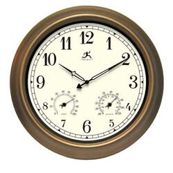 Craftsman Wall Clock Outdoor Round Metal Frame Quartz Movement Off-White Face