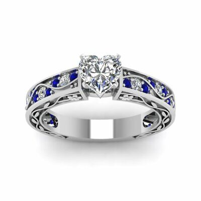 3/4 Carat Antique Scroll Heart Shaped Diamond And Sapphire Engagement Ring GIA 1